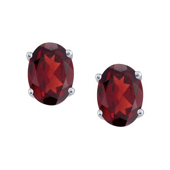 14k White Gold Large 6x8 mm Oval Garnet Studs