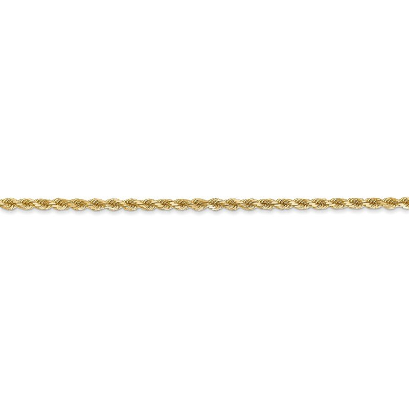 Quality Gold 14k 2mm Diamond-cut Rope Chain Anklet