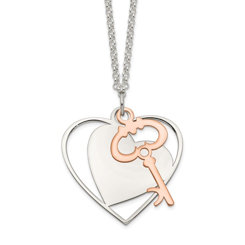 Quality Gold Sterling Silver and Rose-Tone Moveable Heart and Key Necklace