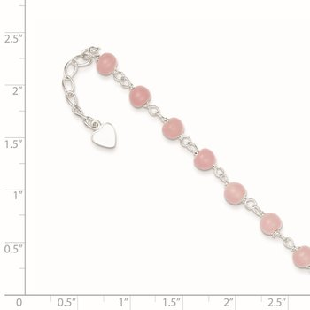 Sterling Silver Pink Glass Bead with Heart 8in Plus 1in ext Anklet
