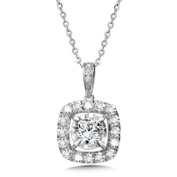 Diamond Star Cushion Halo Pendant
