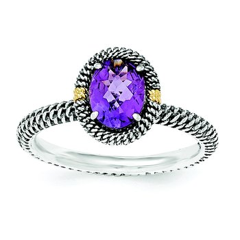 Sterling Silver w/14k Oval Amethyst Ring