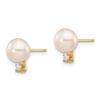 14k 6-7mm White Round Freshwater Cultured Pearl .06ct Diamond Post Earrings