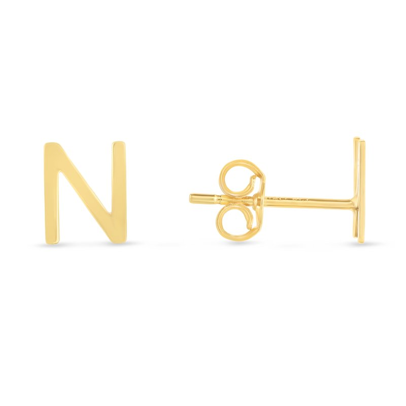 Royal Chain 14K Gold Initial N Stud Earring