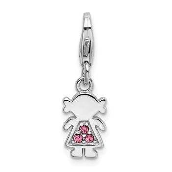 Sterling Silver Polished w/ Pink Crystal Little Girl Lobster Clasp Charm