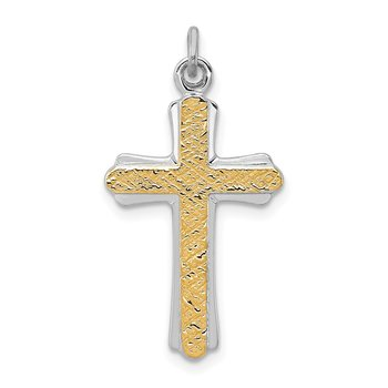 Sterling Silver Rhodium-plated & 18k Gold-plated Cross Charm