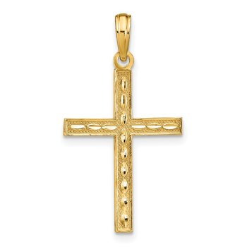 14K Reversible FAITH HOPE LOVE Cross Pendant