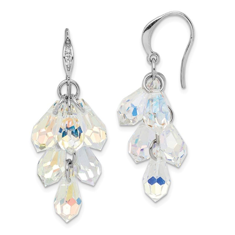 Quality Gold Sterling Silver Rhodium-plated Aurora Crystal Dangle Earrings