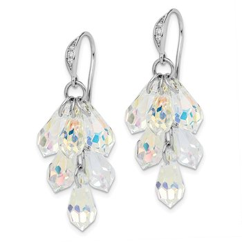 Sterling Silver Rhodium-plated Aurora Crystal Dangle Earrings