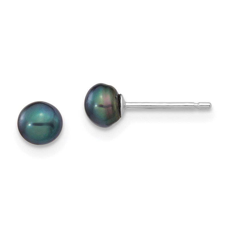 Quality Gold 14k White Gold 4-5mm Black Button FW Cultured Pearl Stud Post Earrings