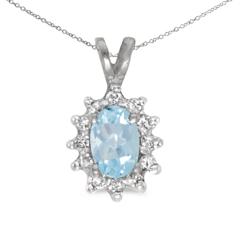 Color Merchants 10k White Gold Oval Aquamarine And Diamond Pendant