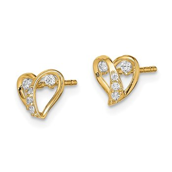 14k Madi K CZ Accent Open Heart Post Earrings