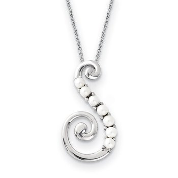 Sterling Silver FW Cultured Pearl Reaching Out 18in Necklace