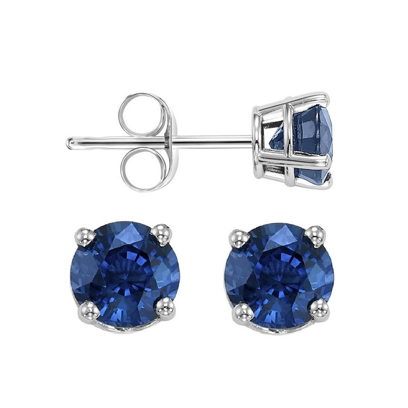 Gems One Four Prong Sapphire Studs in 14K White Gold (4.5 MM)