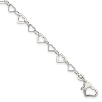 Sterling Silver Linked Heart Bracelet