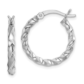 Sterling Silver Twisted 3x20mm Hoop Earrings