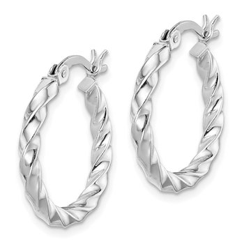 Sterling Silver Rhodium-plated Twisted 3x20mm Hoop Earrings