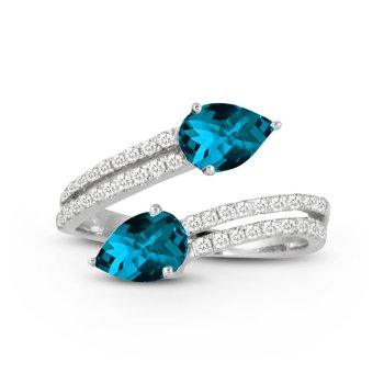 London Blue Bypass Diamond Ring 18KW