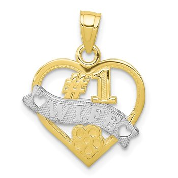 10k w/Rhodium #1 WIFE Heart Charm