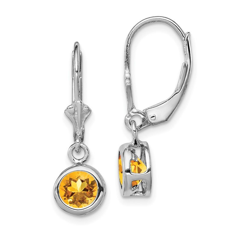 Quality Gold Sterling Silver Rhodium 6mm Round Citrine Leverback Earrings
