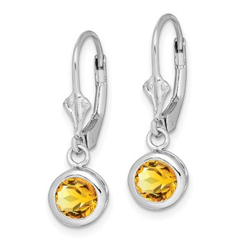 Sterling Silver Rhodium 6mm Round Citrine Leverback Earrings