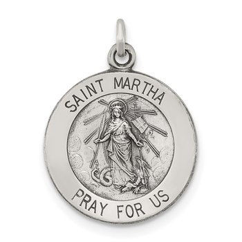 Sterling Silver Antiqued Saint Martha Medal