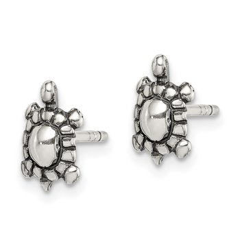 Sterling Silver Oxidized Turtle Post Earrings