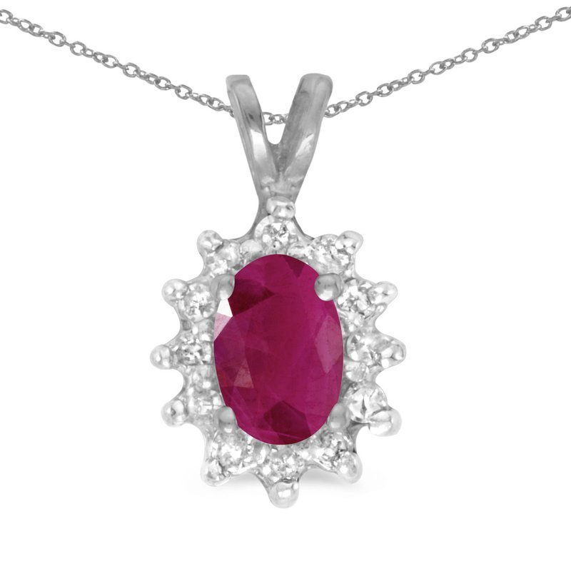 Color Merchants 14k White Gold Oval Ruby And Diamond Pendant