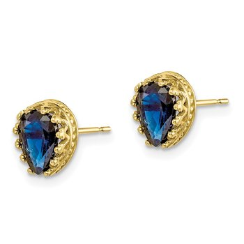 10k Tiara Collection 8mm Polished Pear Created Sapphire Earrings