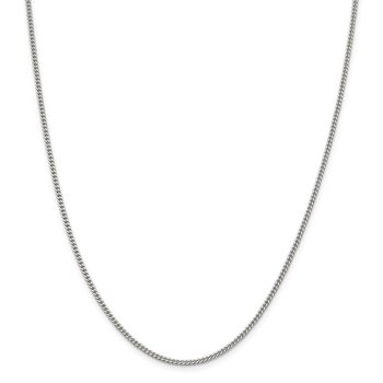 Sterling Silver Rhodium-plated 2mm Curb Chain