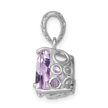 Sterling Silver Rhodium-plated Pink Quartz Pendant