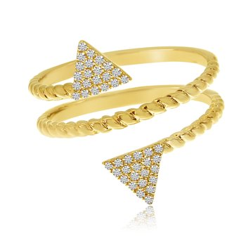 14k Yellow Gold Offset Triangle Diamond Ring