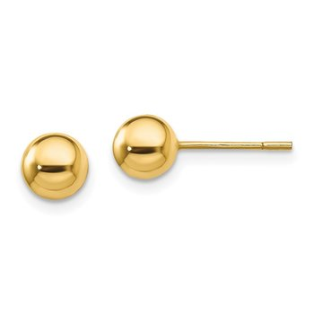 Sterling Silver Gold-Tone Polished 6mm Ball Post Earrings