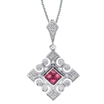 14k White Gold Ruby and .10 ct Diamond Filigree Pendant