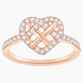 Greeting Ring, White, Rose-gold tone plated