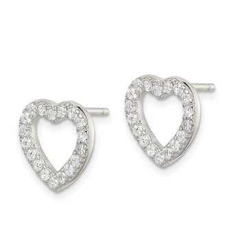 Sterling Silver Rhodium-plated CZ Open Heart Post Earrings