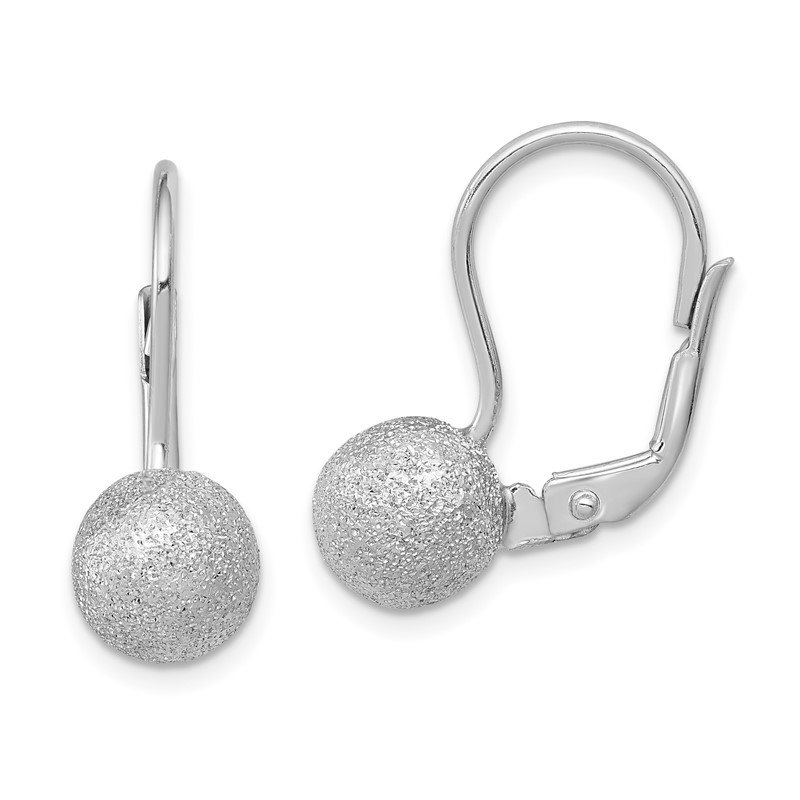 Quality Gold Sterling Silver RH-plated Satin Finish 8mm Ball Leverback Earrings