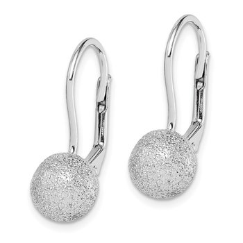 Sterling Silver RH-plated Satin Finish 8mm Ball Leverback Earrings