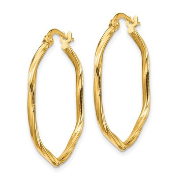 14K 1x1mm Textured Twist Hexagon Hoop Earrings