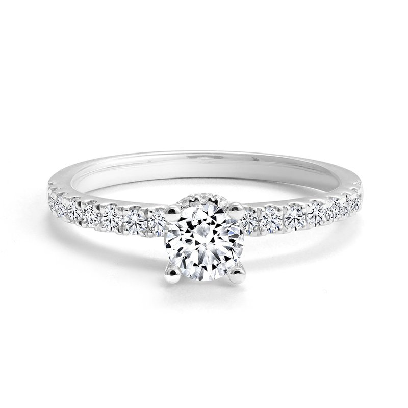 Canadian Rocks Classic Diamond Engagement Ring with Pave Diamonds