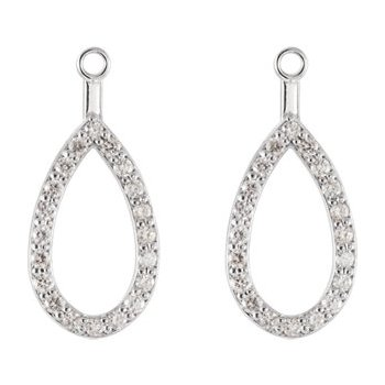 14K White Teardrop Halo-Style Earring Jacket Mounting