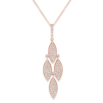 Diamond Drop Necklace in 14k Rose Gold with 163 Diamonds weighing .51ct tw.