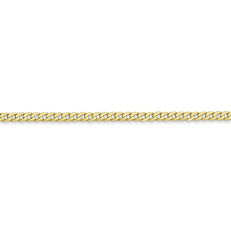 10k 2.2mm Flat Beveled Curb Chain Anklet