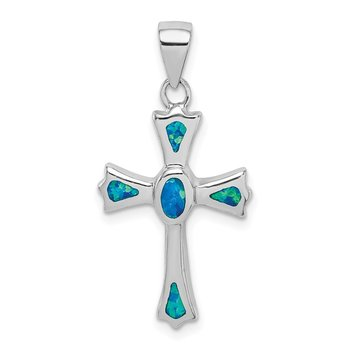 Sterling Silver Rhodium-plated Created Blue Opal Small Cross Pendant