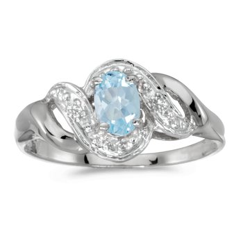 10k White Gold Oval Aquamarine And Diamond Swirl Ring