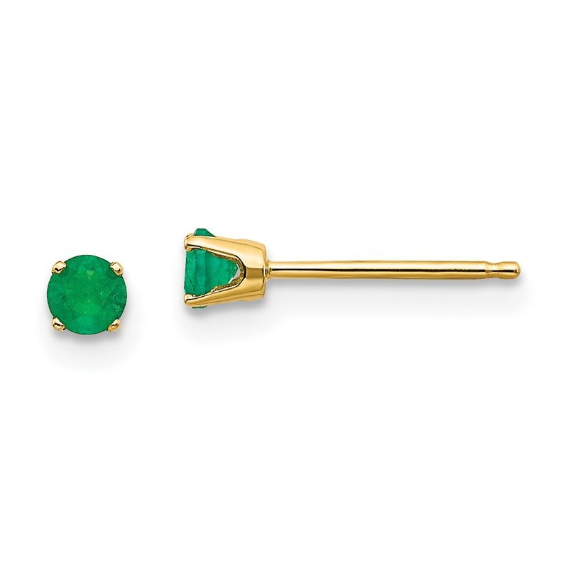 Quality Gold 14k Yellow Gold 3mm May/Emerald Post Earrings