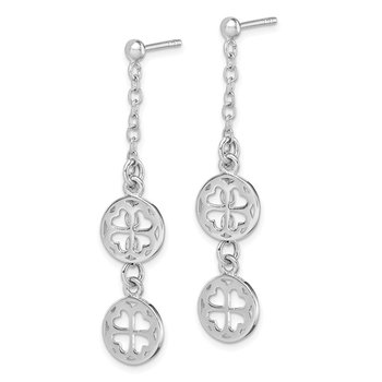 Sterling Silver Rhodium-plated Clover Dangle Post Earring