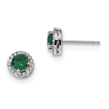 Sterling Silver Brilliant Embers Rhodium-plated White and Green CZ Earrings