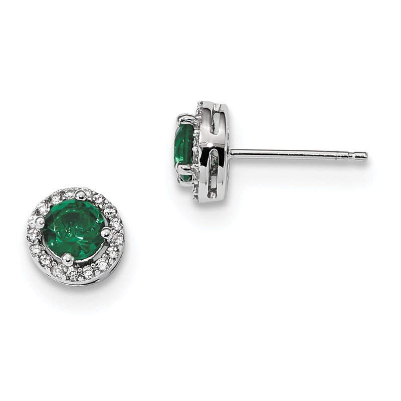 Arizona Diamond Center Collection Sterling Silver White & Green CZ Brilliant Embers Rhodium Earrings