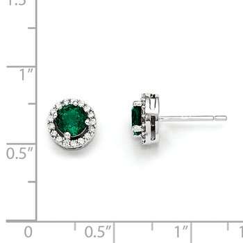 Sterling Silver White & Green CZ Brilliant Embers Rhodium Earrings